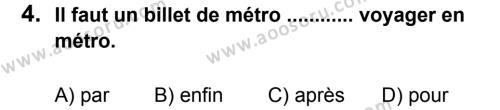 Fransızca 8 Dersi 2012 - 2013 Yılı 2. Dönem Sınavı 4. Soru