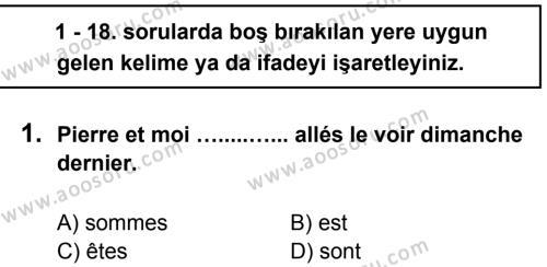 Fransızca 8 Dersi 2012 - 2013 Yılı 3. Dönem Sınavı 1. Soru