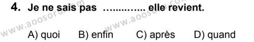 Fransızca 8 Dersi 2012 - 2013 Yılı 3. Dönem Sınavı 4. Soru