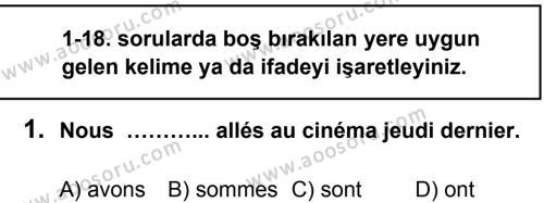 Fransızca 8 Dersi 2013 - 2014 Yılı 1. Dönem Sınavı 1. Soru