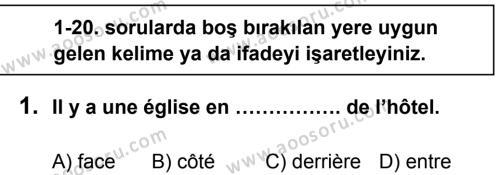 Fransızca 8 Dersi 2013 - 2014 Yılı 2. Dönem Sınavı 1. Soru