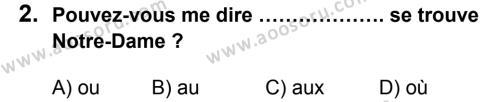 Fransızca 8 Dersi 2013 - 2014 Yılı 2. Dönem Sınavı 2. Soru