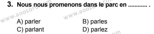 Fransızca 8 Dersi 2014 - 2015 Yılı 1. Dönem Sınavı 3. Soru