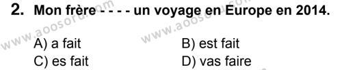 Fransızca 8 Dersi 2014 - 2015 Yılı 3. Dönem Sınavı 2. Soru