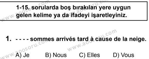 Fransızca 8 Dersi 2015 - 2016 Yılı 2. Dönem Sınavı 1. Soru