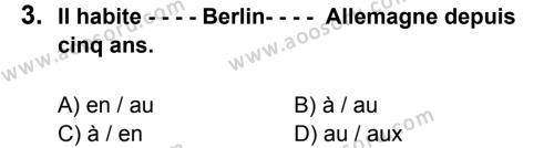 Fransızca 8 Dersi 2015 - 2016 Yılı 2. Dönem Sınavı 3. Soru