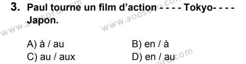 Fransızca 8 Dersi 2015 - 2016 Yılı 3. Dönem Sınavı 3. Soru