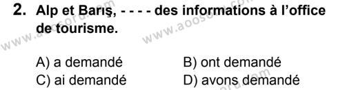 Fransızca 8 Dersi 2016 - 2017 Yılı 1. Dönem Sınavı 2. Soru