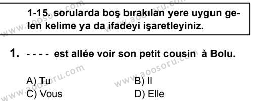 Fransızca 8 Dersi 2016 - 2017 Yılı 2. Dönem Sınavı 1. Soru