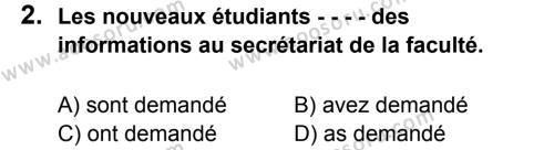 Fransızca 8 Dersi 2016 - 2017 Yılı 2. Dönem Sınavı 2. Soru