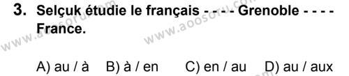 Fransızca 8 Dersi 2016 - 2017 Yılı 2. Dönem Sınavı 3. Soru
