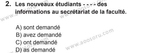 Fransızca 8 Dersi 2017 - 2018 Yılı 2. Dönem Sınavı 2. Soru
