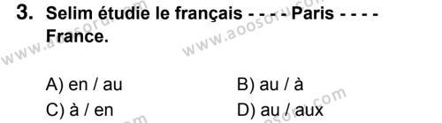 Fransızca 8 Dersi 2017 - 2018 Yılı 3. Dönem Sınavı 3. Soru