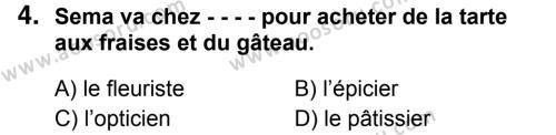 Fransızca 8 Dersi 2018 - 2019 Yılı 1. Dönem Sınavı 4. Soru