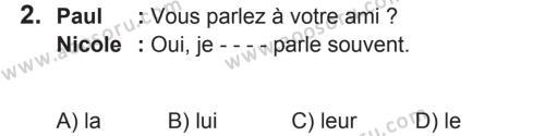 Fransızca 8 Dersi 2018 - 2019 Yılı 2. Dönem Sınavı 2. Soru