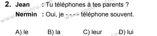 Fransızca 8 Dersi 2018 - 2019 Yılı 3. Dönem Sınavı 2. Soru