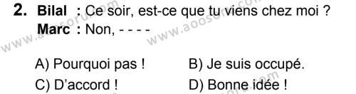 Fransızca 8 Dersi 2019 - 2020 Yılı 1. Dönem Sınavı 2. Soru