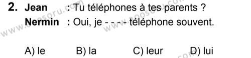Fransızca 8 Dersi 2019 - 2020 Yılı 2. Dönem Sınavı 2. Soru