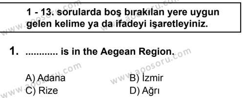 İngilizce 5 Dersi 2012 - 2013 Yılı 1. Dönem Sınavı 1. Soru