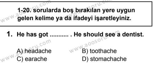İngilizce 5 Dersi 2012 - 2013 Yılı 2. Dönem Sınavı 1. Soru
