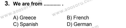 İngilizce 5 Dersi 2012 - 2013 Yılı 3. Dönem Sınavı 3. Soru