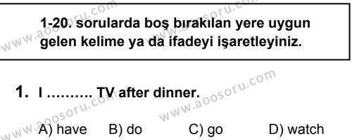 İngilizce 5 Dersi 2013 - 2014 Yılı 1. Dönem Sınavı 1. Soru