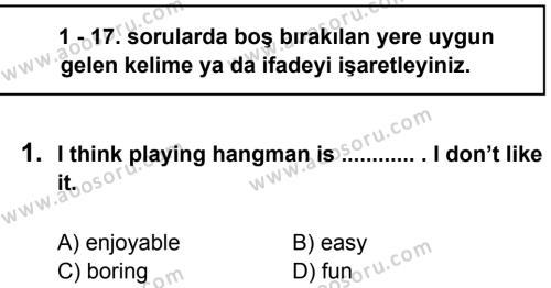 İngilizce 5 Dersi 2013 - 2014 Yılı 3. Dönem Sınavı 1. Soru