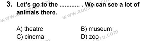 İngilizce 5 Dersi 2014 - 2015 Yılı 1. Dönem Sınavı 3. Soru