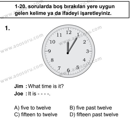 İngilizce 5 Dersi 2016 - 2017 Yılı 2. Dönem Sınavı 1. Soru