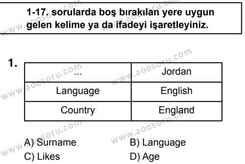 İngilizce 5 Dersi 2018 - 2019 Yılı 1. Dönem Sınavı 1. Soru
