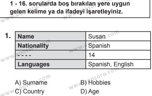 İngilizce 5 Dersi 2018 - 2019 Yılı 2. Dönem Sınavı 1. Soru