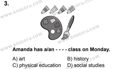 İngilizce 5 Dersi 2019 - 2020 Yılı 1. Dönem Sınavı 3. Soru