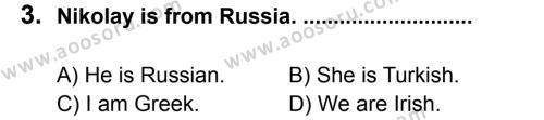 İngilizce 6 Dersi 2011 - 2012 Yılı 2. Dönem Sınavı 3. Soru