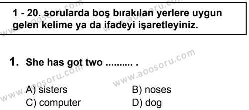 İngilizce 6 Dersi 2011 - 2012 Yılı 3. Dönem Sınavı 1. Soru