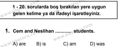 İngilizce 6 Dersi 2012 - 2013 Yılı 3. Dönem Sınavı 1. Soru