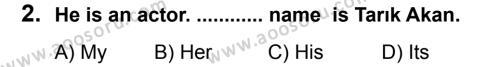 İngilizce 6 Dersi 2012 - 2013 Yılı 3. Dönem Sınavı 2. Soru