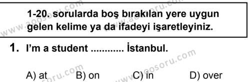İngilizce 6 Dersi 2013 - 2014 Yılı 1. Dönem Sınavı 1. Soru