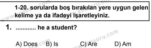 İngilizce 6 Dersi 2014 - 2015 Yılı 2. Dönem Sınavı 1. Soru