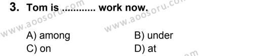 İngilizce 6 Dersi 2014 - 2015 Yılı 2. Dönem Sınavı 3. Soru
