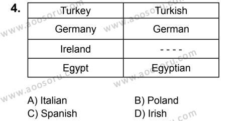 İngilizce 6 Dersi 2017 - 2018 Yılı 1. Dönem Sınavı 4. Soru