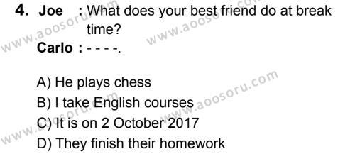 İngilizce 6 Dersi 2018 - 2019 Yılı 3. Dönem Sınavı 4. Soru