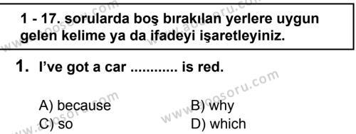 İngilizce 7 Dersi 2011 - 2012 Yılı 2. Dönem Sınavı 1. Soru