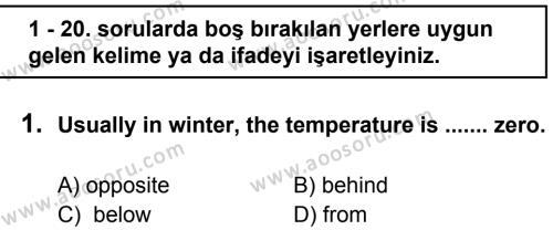 İngilizce 7 Dersi 2011 - 2012 Yılı 3. Dönem Sınavı 1. Soru
