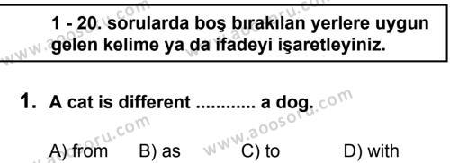 İngilizce 7 Dersi 2012 - 2013 Yılı 1. Dönem Sınavı 1. Soru