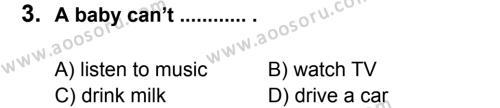 İngilizce 7 Dersi 2012 - 2013 Yılı 1. Dönem Sınavı 3. Soru