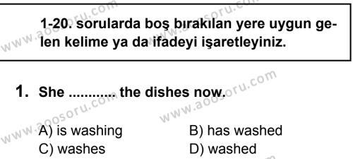 İngilizce 7 Dersi 2012 - 2013 Yılı 2. Dönem Sınavı 1. Soru