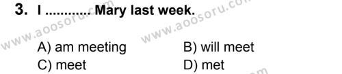 İngilizce 7 Dersi 2012 - 2013 Yılı 2. Dönem Sınavı 3. Soru