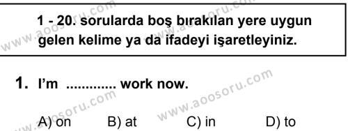 İngilizce 7 Dersi 2012 - 2013 Yılı 3. Dönem Sınavı 1. Soru