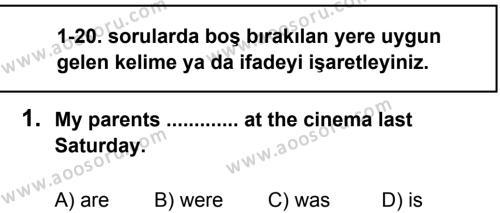 İngilizce 7 Dersi 2013 - 2014 Yılı 1. Dönem Sınavı 1. Soru