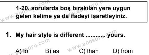 İngilizce 7 Dersi 2013 - 2014 Yılı 2. Dönem Sınavı 1. Soru